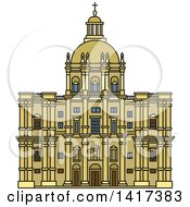 Clipart Of A Portuguese Landmark Church Of Santa Engracia Royalty Free Vector Illustration by Vector Tradition SM