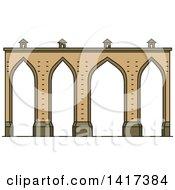 Clipart Of A Portuguese Landmark Lisbon Aqueduct Royalty Free Vector Illustration