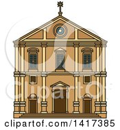 Clipart Of A Portuguese Landmark Church Of Saint Roch Royalty Free Vector Illustration