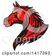 Clipart Of A Tough Red Horse Head Royalty Free Vector Illustration