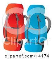 Red And Blue Backpacks