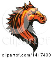 Clipart Of A Tough Orange Or Brown Horse Head Royalty Free Vector Illustration