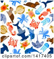 Clipart Of A Seamless Background Pattern Of Sea Creatures Royalty Free Vector Illustration