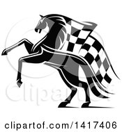 Clipart Of A Black And White Horse With A Checkered Racing Flag Mane Royalty Free Vector Illustration by Vector Tradition SM