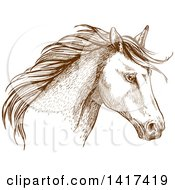 Clipart Of A Sketched Brown Horse Head Royalty Free Vector Illustration