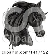 Clipart Of A Sketched And Color Filled Black Horse Head Royalty Free Vector Illustration