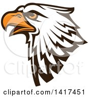 Clipart Of A Firece Bald Eagle Head With Orange Eyes Royalty Free Vector Illustration by Vector Tradition SM