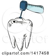 Clipart Of A Tooth Getting Dental Work Done Royalty Free Vector Illustration by Vector Tradition SM