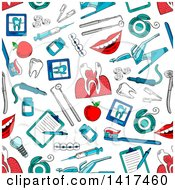 Clipart Of A Seamless Background Pattern Of Dental Items Royalty Free Vector Illustration by Vector Tradition SM