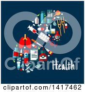 Clipart Of A Pill Formed Of Medical Icons With Text Royalty Free Vector Illustration