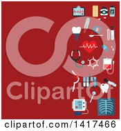 Clipart Of A Red Medical Background With Icons Royalty Free Vector Illustration