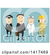 Clipart Of A Flat Design Group Of Men Of Different Professions On Blue Royalty Free Vector Illustration by Vector Tradition SM