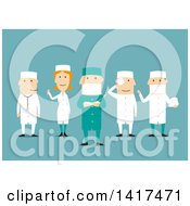Clipart Of A Flat Design Medical Team On Blue Royalty Free Vector Illustration by Vector Tradition SM