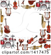 Clipart Of A Border Frame Of Instruments Royalty Free Vector Illustration