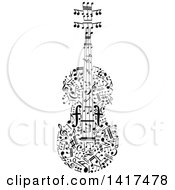 Clipart Of A Violin Made Of Music Notes Royalty Free Vector Illustration by Vector Tradition SM