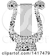 Clipart Of A Black Lyre Made Of Music Notes Royalty Free Vector Illustration
