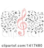 Red Clef And Music Notes