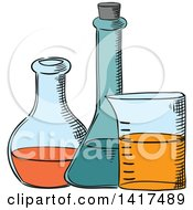 Clipart Of Science Lab Containers Royalty Free Vector Illustration