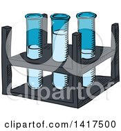 Clipart Of A Tray With Test Tubes Royalty Free Vector Illustration by Vector Tradition SM