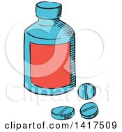 Clipart Of A Sketched Bottle And Pills Royalty Free Vector Illustration