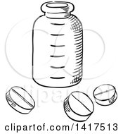 Clipart Of A Sketched Bottle And Pills Royalty Free Vector Illustration by Vector Tradition SM