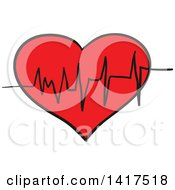 Clipart Of A Ekg Heart Graph Royalty Free Vector Illustration by Vector Tradition SM