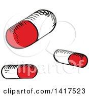 Clipart Of Pills Royalty Free Vector Illustration