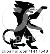 Clipart Of A Black Silhouetted Rampant Lion Royalty Free Vector Illustration by Vector Tradition SM