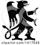 Clipart Of A Black And White Rampant Griffin Royalty Free Vector Illustration by Vector Tradition SM