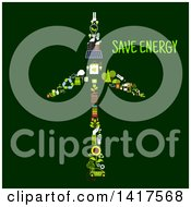 Wind Turbine Formed Of Icons With Text On Green