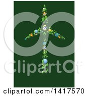 Poster, Art Print Of Wind Turbine Formed Of Icons On Green
