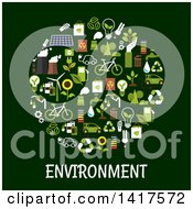 Poster, Art Print Of Circle Formed Of Green Energy Icons With Text