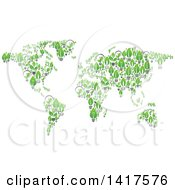 Clipart Of A Map Formed Of Leaf Lightbulbs Royalty Free Vector Illustration by Vector Tradition SM