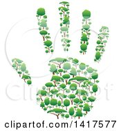 Hand Formed Of Green Trees