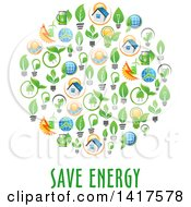 Circle Formed Of Green Energy Icons With Text