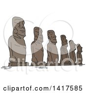 Clipart Of A Sketched Landmark Statues Of Easter Island Moai Statues Royalty Free Vector Illustration by Vector Tradition SM
