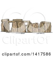 Clipart Of A Sketched Great Britain Landmark Stonehenge Royalty Free Vector Illustration by Vector Tradition SM