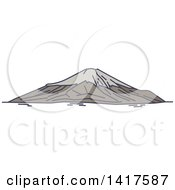 Clipart Of A Sketched Japanese Landmark Mount Fuji Royalty Free Vector Illustration