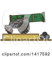 Clipart Of A Sketched Landmark Tsar Cannon Royalty Free Vector Illustration