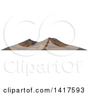 Clipart Of A Sketched Italian Landmark Mount Vesuvius Royalty Free Vector Illustration by Vector Tradition SM