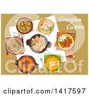 Clipart Of A Table With Georgian Cuisine And Text Royalty Free Vector Illustration