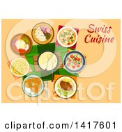 Clipart Of A Table With Swiss Cuisine And Text Royalty Free Vector Illustration