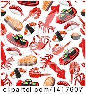 Clipart Of A Seamless Background Pattern Of Seafood Royalty Free Vector Illustration