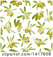 Clipart Of A Seamless Background Pattern Of Green Olives Royalty Free Vector Illustration