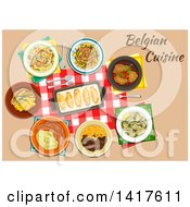 Clipart Of A Table With Belgian Cuisine And Text Royalty Free Vector Illustration
