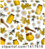Clipart Of A Seamless Background Pattern Of Bees And Honey Royalty Free Vector Illustration