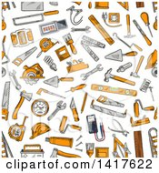 Clipart Of A Seamless Background Pattern Of Tools Royalty Free Vector Illustration by Vector Tradition SM
