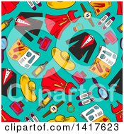 Clipart Of A Seamless Background Pattern Of Apparel Royalty Free Vector Illustration