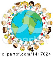 Clipart Of A Sketched Globe With Children Holding Hands Around It Royalty Free Vector Illustration