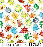 Clipart Of A Seamless Background Pattern Of Monsters Royalty Free Vector Illustration by Vector Tradition SM